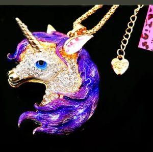NWT** Betsey Johnson Unicorn Rhinestone Necklace